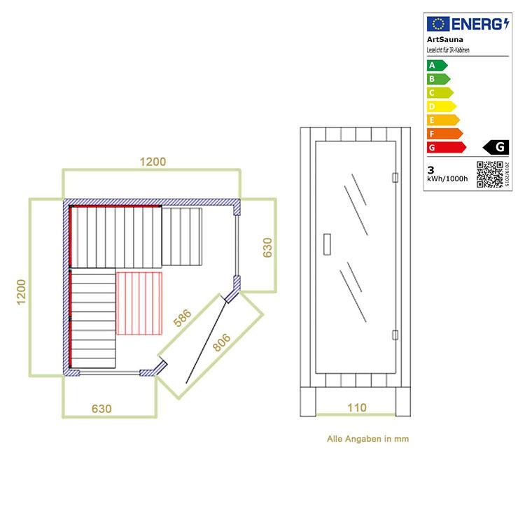 Abmessungen der Infrarotkabine Aalborg mit Triplex-Heizsystem und Hemlockholz für bis zu 2 Personen von Artsauna