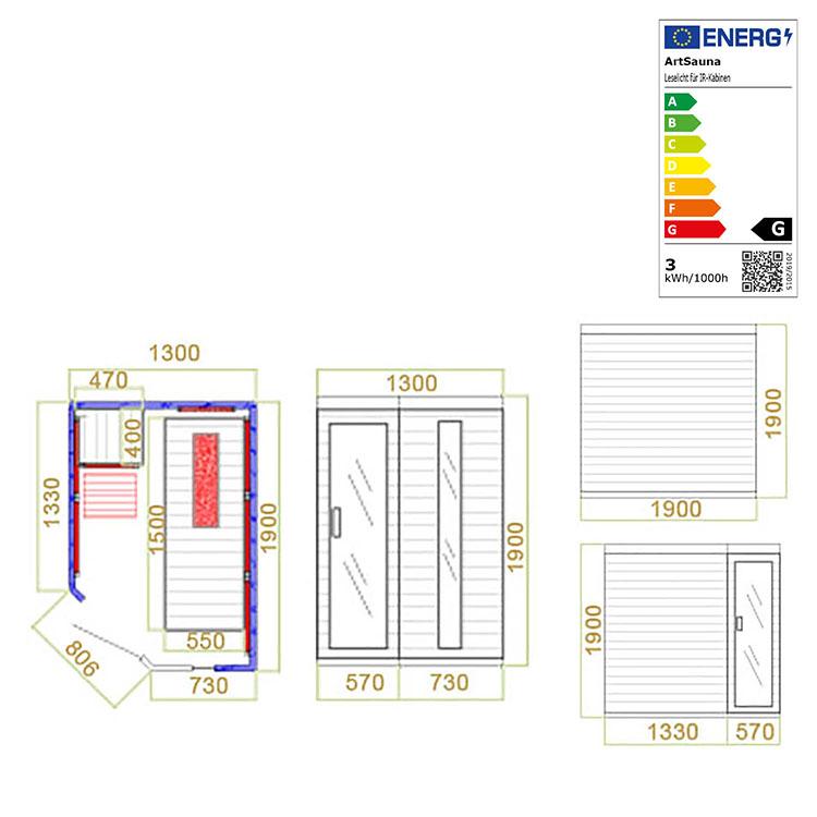 Abmessungen der Infrarotkabine Esbjerg mit Triplex-Heizsystem und Hemlockholz für bis zu 2 Personen von Artsauna