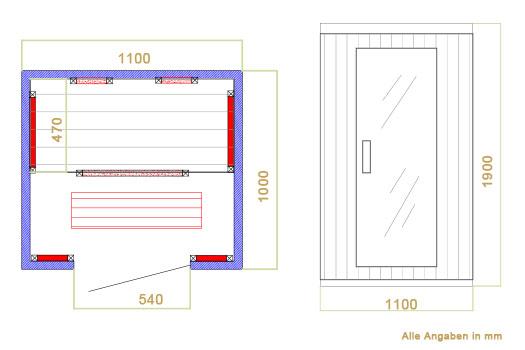 Abmessungen der Infrarotkabine Halmstad mit Dual-Heizsystem und Hemlockholz für 1 bis 2 Personen von Artsauna