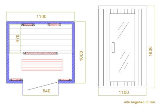 Abmessungen der Infrarotkabine Halmstad mit Keramikstrahlern und Hemlockholz für 1 bis 2 Personen von Artsauna