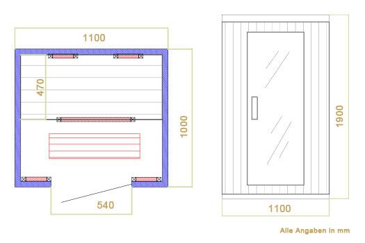 Abmessungen der Infrarotkabine Halmstad mit Vollspektrumstrahler und Hemlockholz für bis zu 2 Personen von Artsauna