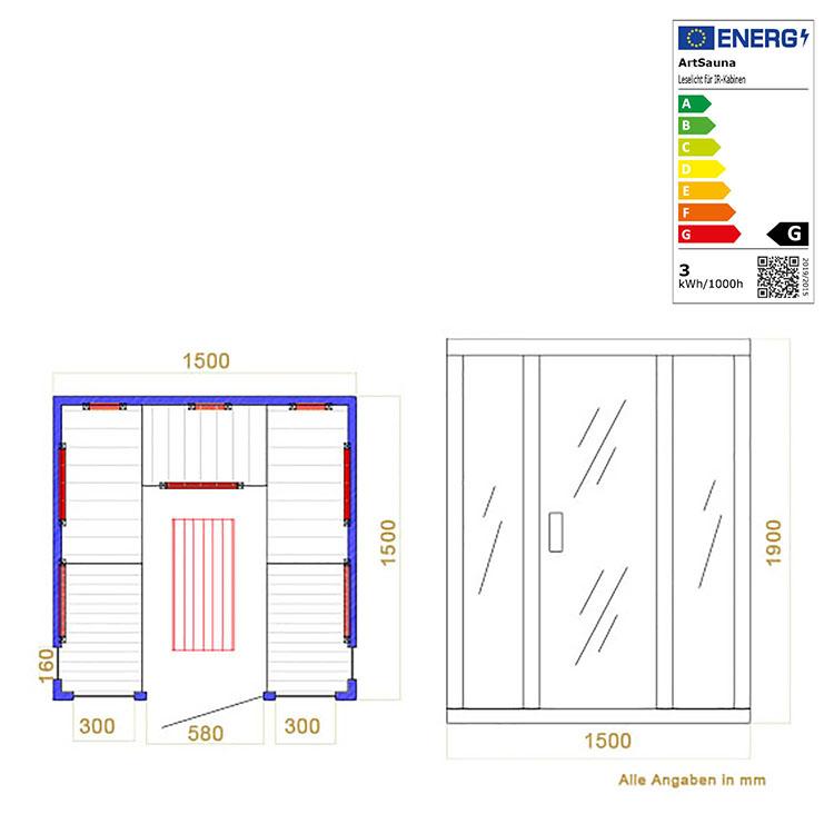 Abmessungen der Infrarotkabine Helsinki mit Triplex-Heizsystem und Hemlockholz