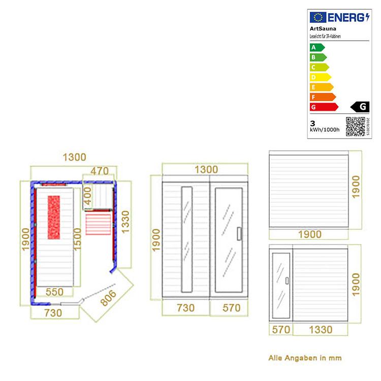 Abmessungen der Infrarotkabine Kolding mit Triplex-Heizsystem und Hemlockholz für bis zu 2 Personen von Artsauna
