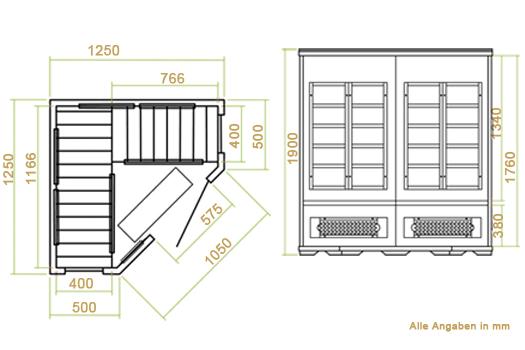 Abmessungen der Infrarotkabine Malmö 125 von Artsauna - Wärmekabine mit Flächenstrahlern und Zedernholz für 3 Personen