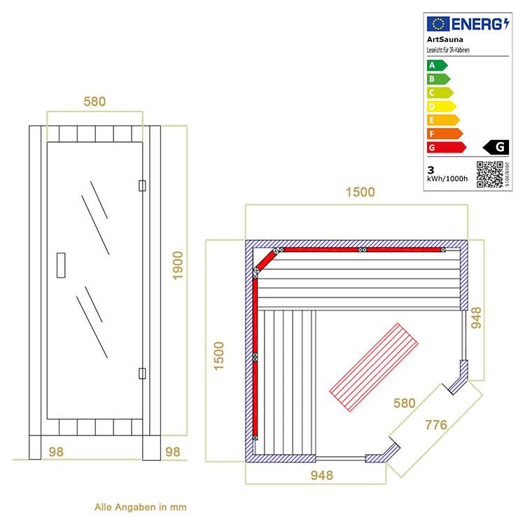 Abmessungen der Infrarotkabine Nyborg E150 Vollspektrum für bis zu 4 Personen von Artsauna