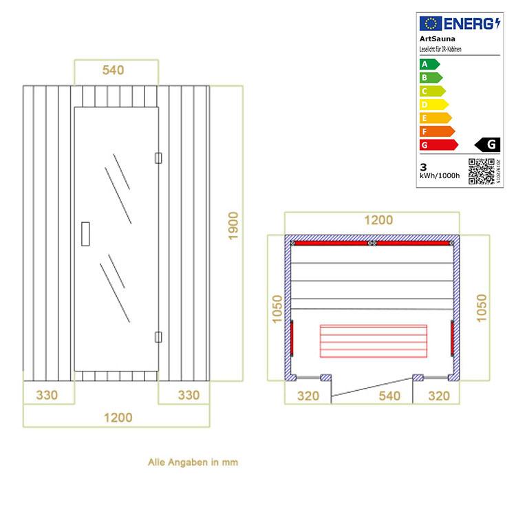 Abmessungen der Infrarotkabine Nyborg S120 Vollspektrum für bis zu 2 Personen von Artsauna