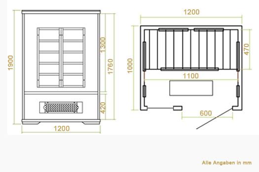 infrarotkabine w rmekabine schweden 120 mit fl chenstrahlern hemlockholz. Black Bedroom Furniture Sets. Home Design Ideas