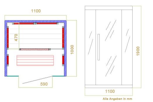 Abmessungen der Infrarotkabine Skagen 110 von Artsauna - Wärmekabine mit Flächenstrahlern und  Hemlockholz für 1 Person