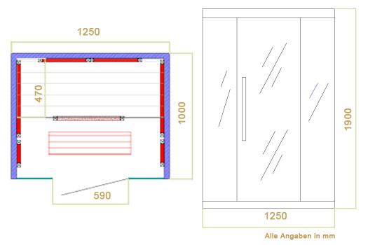 Abmessungen der Infrarotkabine Skagen 125 von Artsauna - Wärmekabine mit Flächenstrahlern und  Hemlockholz für 2 Personen