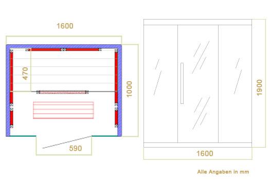 Abmessungen der Infrarotkabine Skagen 160 mit Flächenstrahlern und  Hemlockholz für 3 Personen von Artsauna