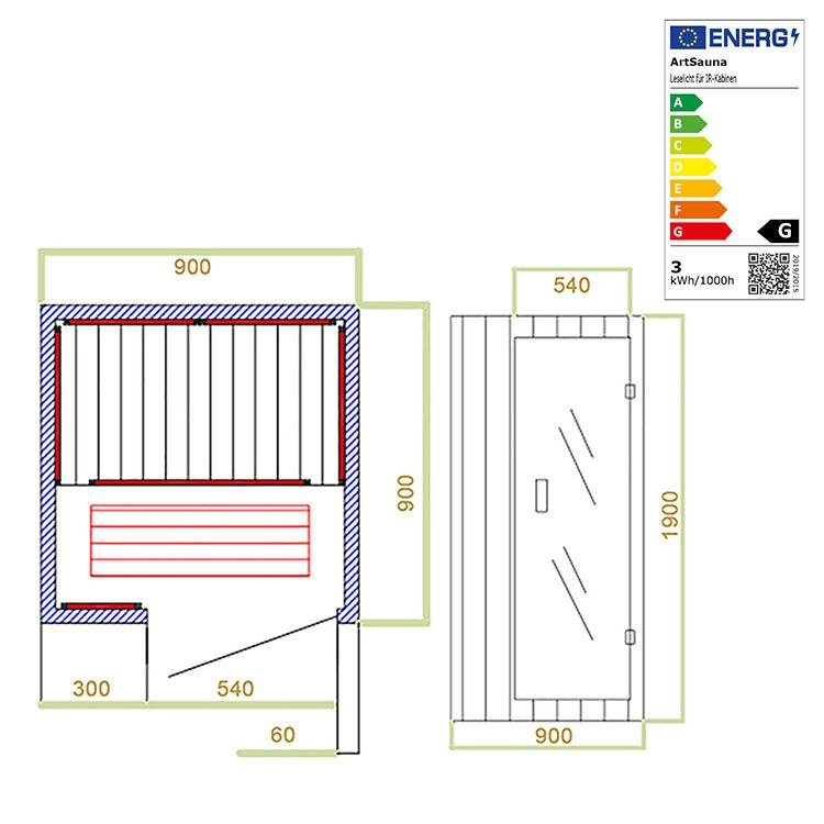 Abmessungen der Infrarotkabine Trondheim mit Triplex-Heizsystem und Hemlockholz für bis zu 1 Person von Artsauna