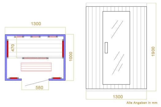 Abmessungen der Infrarotkabine Visby von Artsauna - Wärmekabine mit Dual-Heizsystem und Hemlockholz für 2 Personen