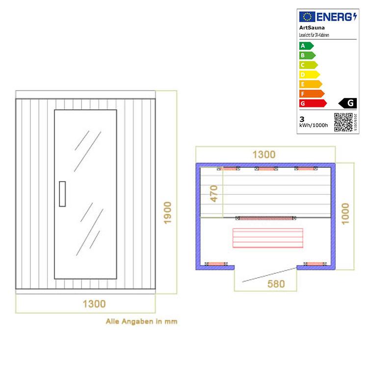 infrarotkabine vollspecktrumstrahler b130cm wohnstattadel. Black Bedroom Furniture Sets. Home Design Ideas