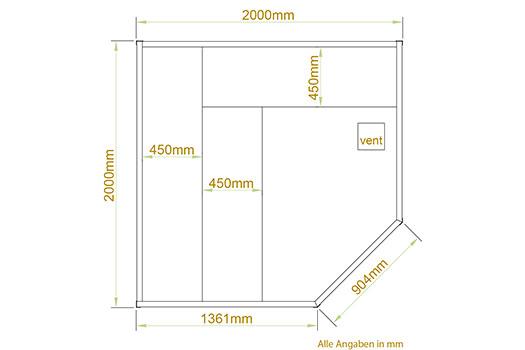 traditionelle saunakabine finnische sauna aarhus 200 x 200 cm 8 kw. Black Bedroom Furniture Sets. Home Design Ideas
