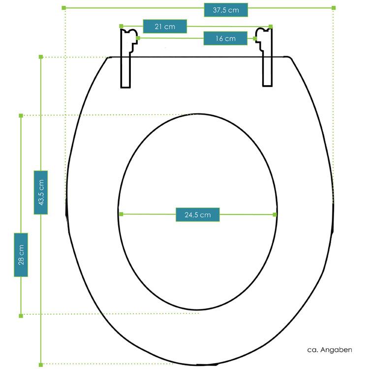 Abmessungsbild vom Juskys WC Toilettensitz Africa mit Absenkautomatik aus MDF