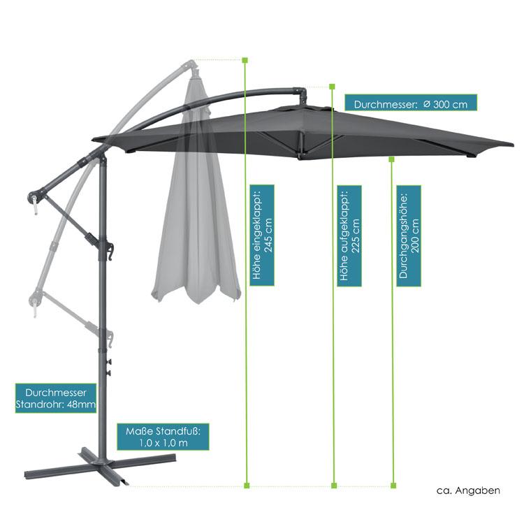 Abmessungsbild vom Ampelschirm Brazil - Durchmesser 300 cm – Gartenschirm mit Kurbelvorrichtung und Schirmfuß in dunkelgrau-creme
