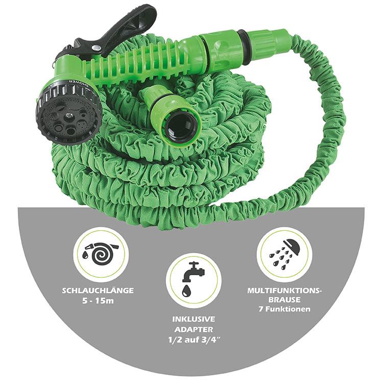 Abmessungsbild des flexiblen Gartenschlauchs Aqua mit Länge eingefahren von 550cm und ausgefahren von 1500cm