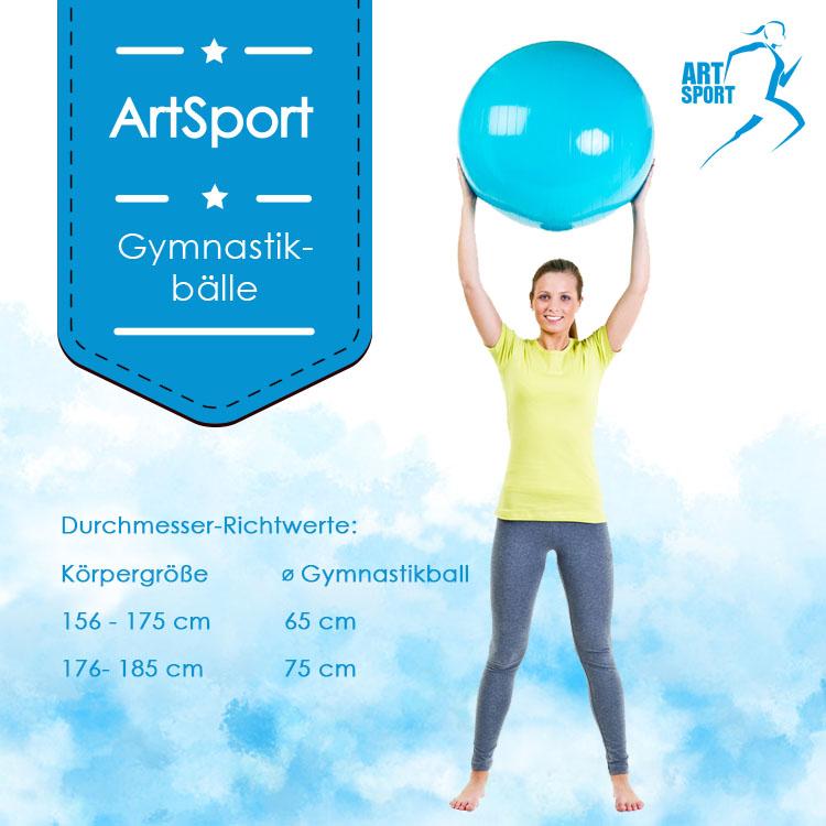 Abmessungen vom Gymnastikball mit Handpumpe – violett – 65 cm Durchmesser - ArtSport