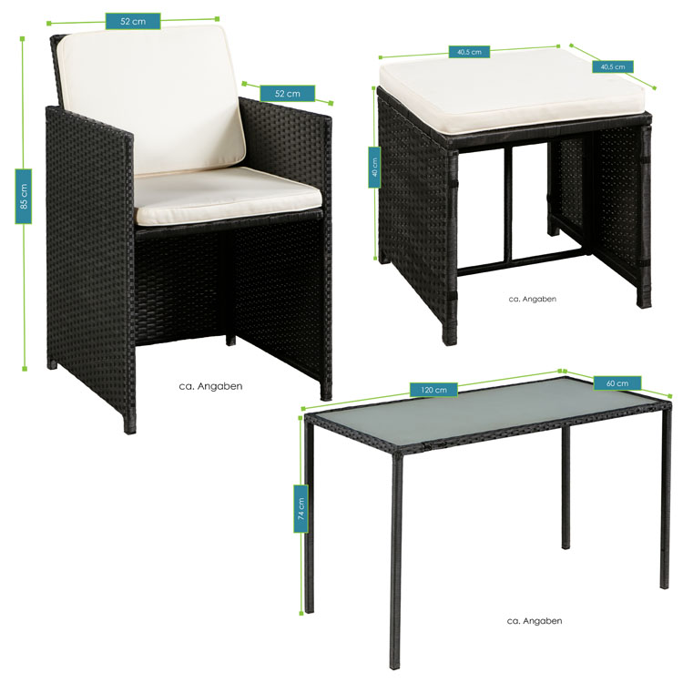 polyrattan essgruppe pico m f r 2 personen 5 teilig schwarz juskys. Black Bedroom Furniture Sets. Home Design Ideas