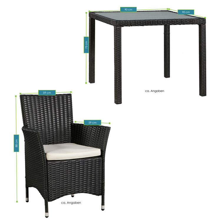 polyrattan essgruppe rimini m f r 4 personen mit glas tischplatte juskys. Black Bedroom Furniture Sets. Home Design Ideas