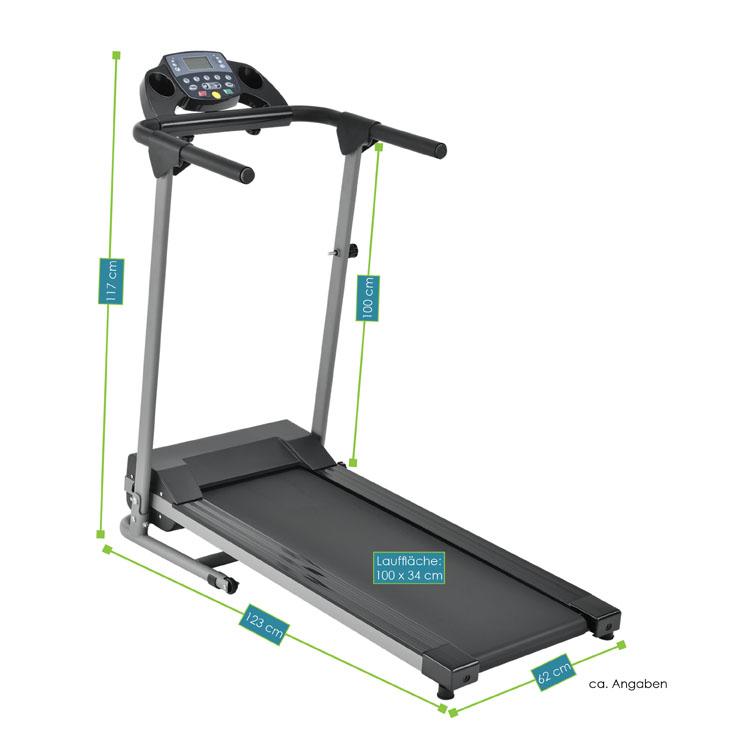 Abmessungen Laufband Speedrunner 2000 – Gesamtmaße: 125 x 50 x 125 cm, Maße der Lauffläche: 100  x 34 cm