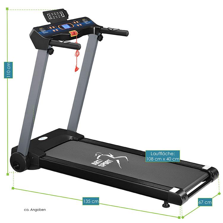 Abmessungsbild Laufband Speedrunner 2500 von ArtSport – elektrisches Trainingsgerät mit Motor für das heimische Ausdauer- und Fitnesstraining - inkl. 1,26 PS Motor, Bedienpanel mit LCD-Anzeige, Pad-Halterung & verstellbarem Neigungswinkel