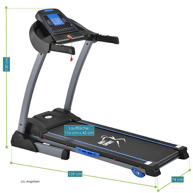 Abmessungsbild Laufband Speedrunner 3500 von ArtSport – elektrisches Trainingsgerät mit Motor für das heimische Ausdauer- und Fitnesstraining