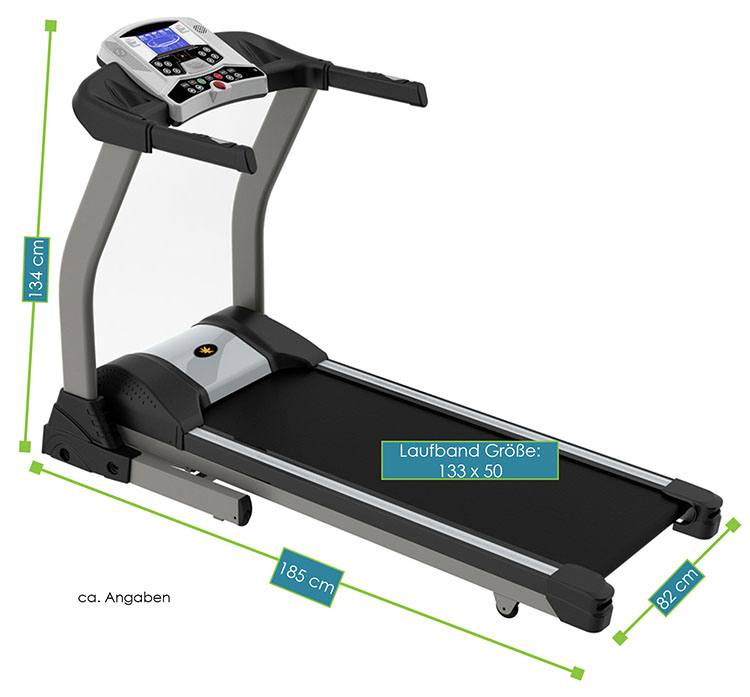 Abmessungen Laufband Speedrunner 5000 – Gesamtmaße: 185 x 82 x 134 cm, Maße der Lauffläche: 133  x 50 cm
