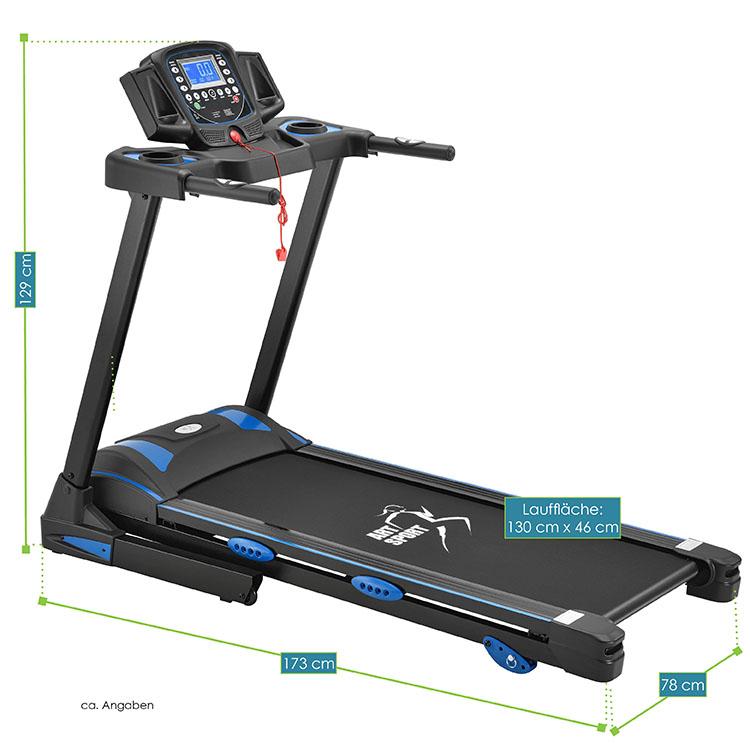 Abmessungsbild Laufband Speedrunner 5100 von ArtSport – elektrisches Trainingsgerät mit Motor für das heimische Ausdauer- und Fitnesstraining
