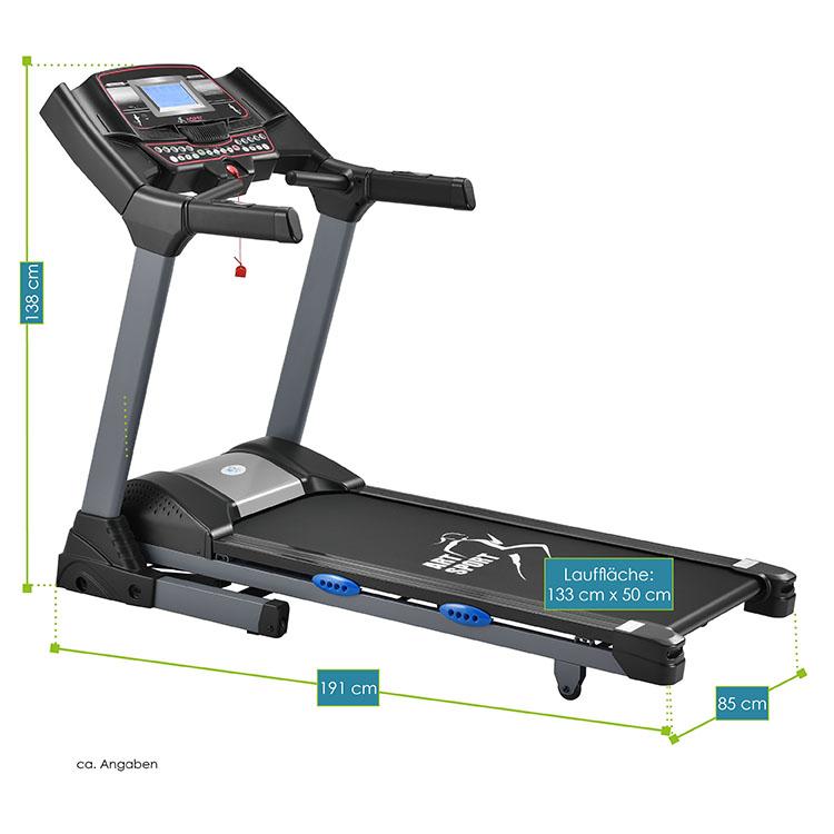 Abmessungen Laufband Speedrunner 6000 inkl. Polar Brustgurt von ArtSport – Gesamtmaße vom Fitnessgerät: 191 x 85 x 138 cm, Maße der Lauffläche: 133 x 50 cm