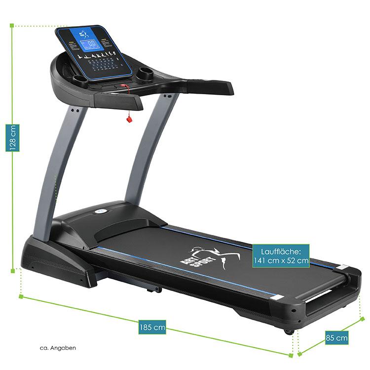 Abmessungsbild Laufband Speedrunner 7000 von ArtSport – elektrisches Trainingsgerät mit Motor für das heimische Ausdauer- und Fitnesstraining - inkl. 48 Programmen, 22 Neigungsstufen, LCD-Display, Klinkenanschluss für Musikplayer & Safety-Key