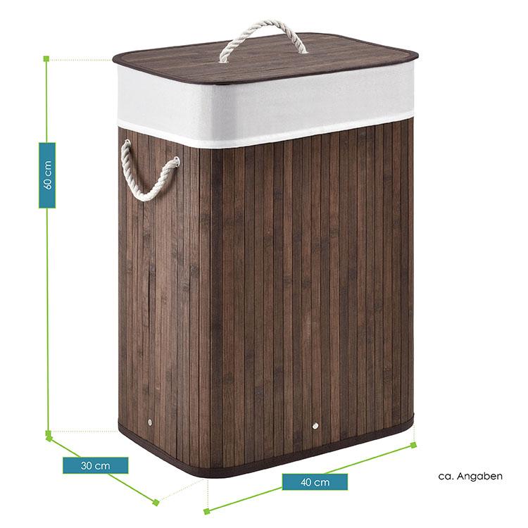 Gesamtmaße vom Bambus Wäschekorb Curly 72 Liter braun - Wäschesammler inklusive waschbarem Wäschesack und Deckel