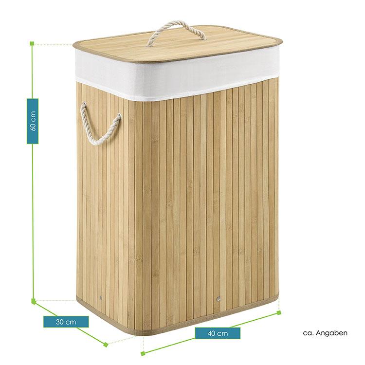 Gesamtmaße vom Bambus Wäschekorb Curly 72 Liter natur - Wäschesammler inklusive waschbarem Wäschesack und Deckel
