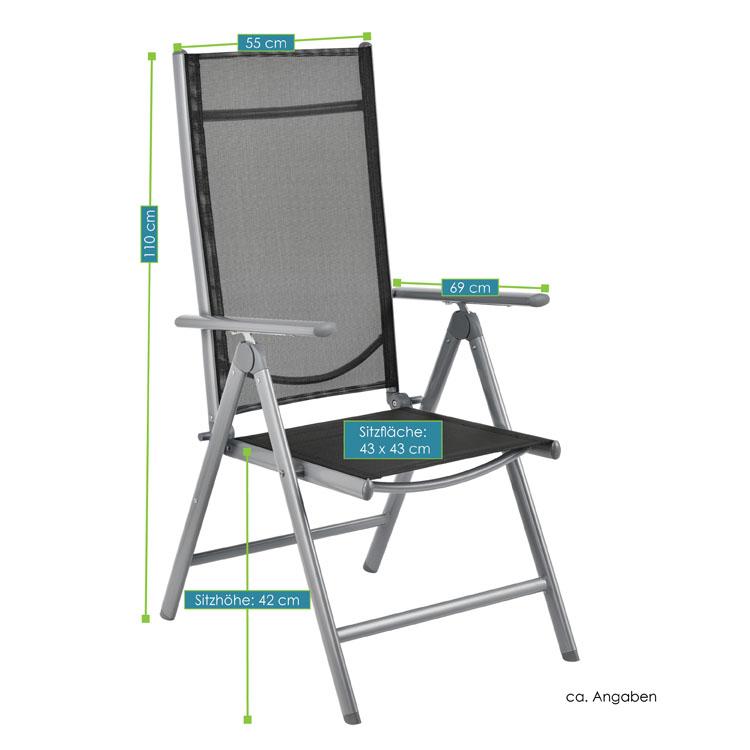 Abmessungen der Aluminium Gartengarnitur Mailand XL – 9-teilige Sitzgruppe Stuhl