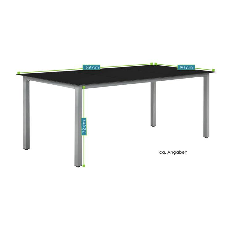 Abmessungen der Aluminium Gartengarnitur Mailand XL – 9-teilige Sitzgruppe Tisch