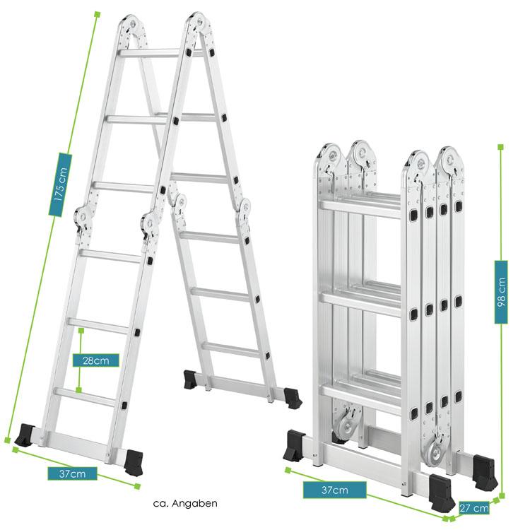Abmessungen von der Aluminium Multifunktionsleiter 3,6m mit 4 klappbaren Leiterelementen mit je 3 Sprossen