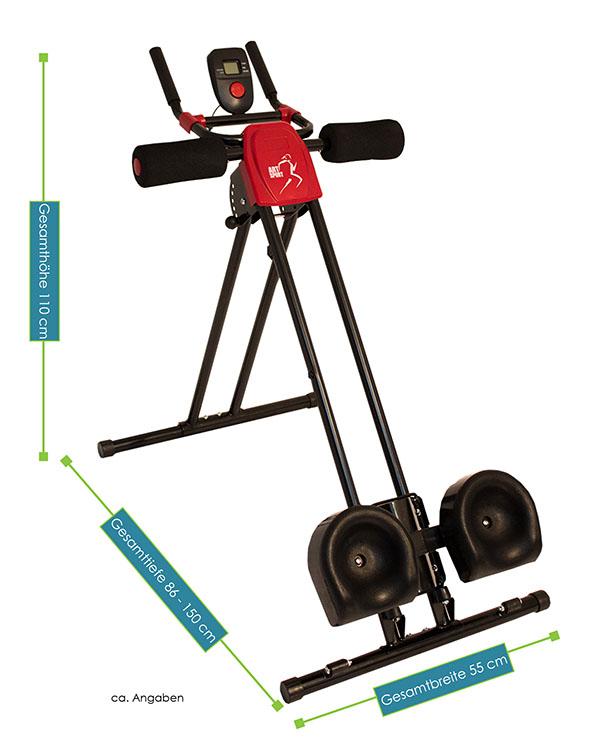Abmessungen vom Bauchtrainer ProfiGym250 mit Beinrollen  von ArtSport– Tiefe: 86 - 150 cm, Breite: 55, Höhe: 110