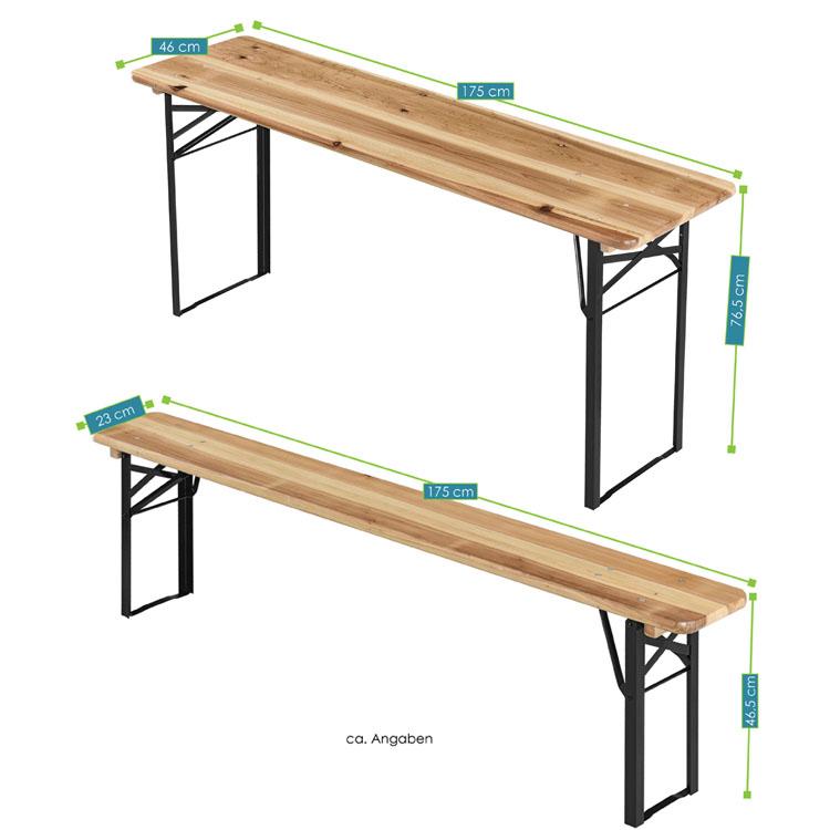 Abmessungen der 3-teiligen Bierzeltgarnitur bestehend aus Tisch und Bänken von Juskys
