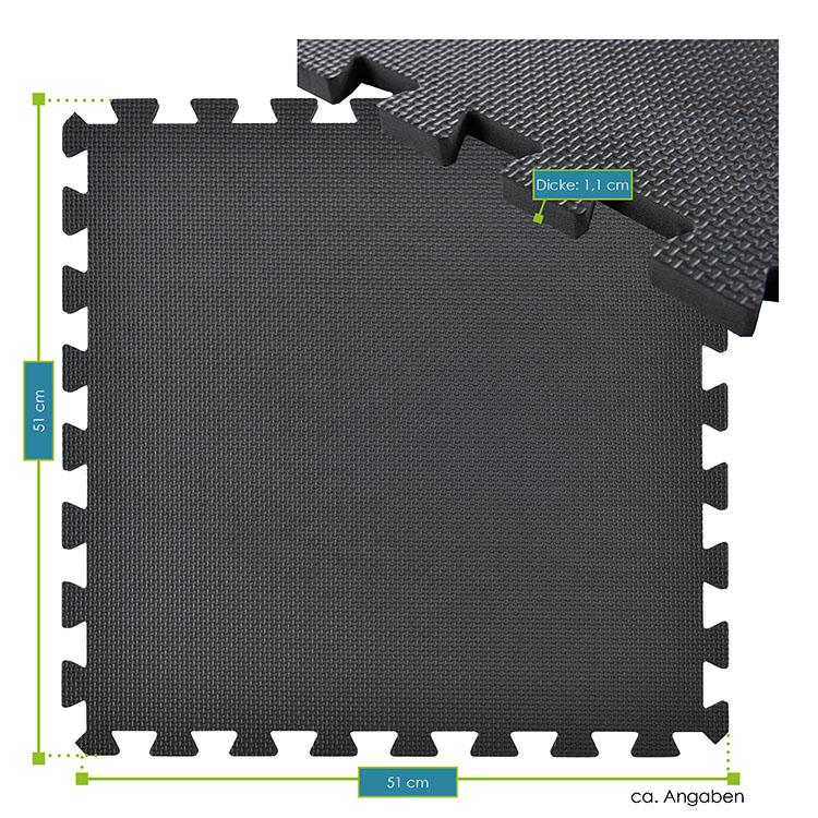 Abmessungen von der 6-teiligen Bodenschutzmatte – schwarz - für Sportgeräte und Bodenübungen von ArtSport