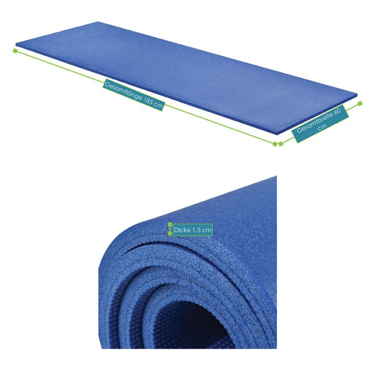 Abmessungsbild der Fitness-, Gymnastik-, und Yogamatte von ArtSport – 185 x 60 x 1,5 cm - blau