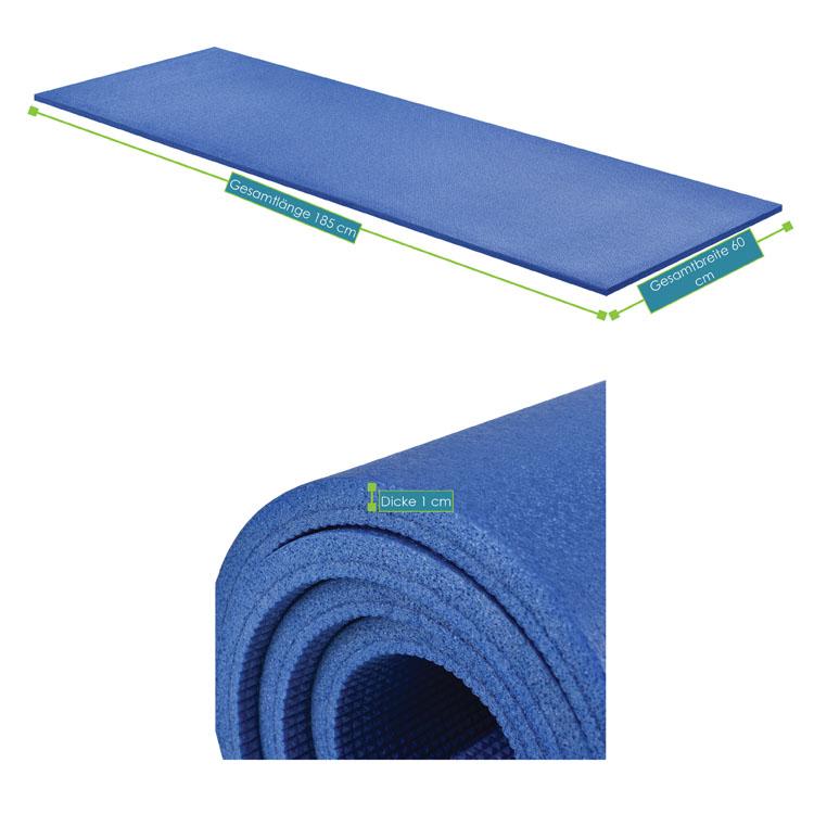 Abmessungsbild der Fitness-, Gymnastik-, und Yogamatte von ArtSport – 185 x 60 x 1 cm - blau