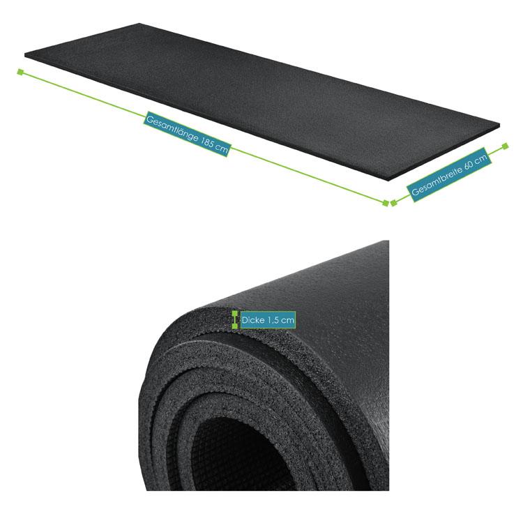 Abmessungsbild der Fitness-, Gymnastik-, und Yogamatte von ArtSport – 185 x 60 x 1,5 cm - schwarz