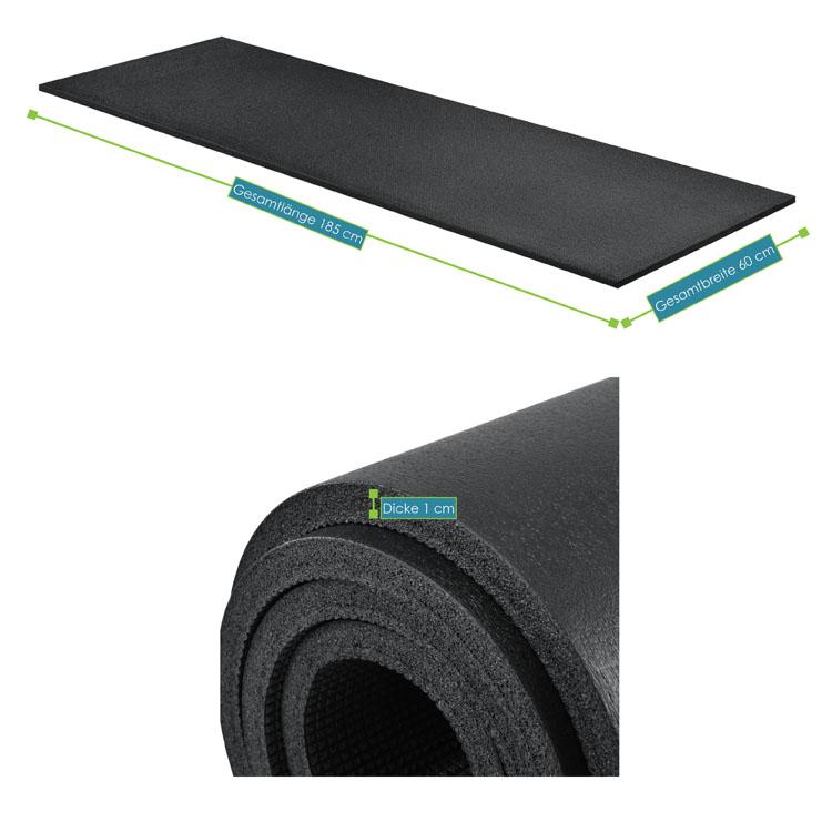 Abmessungsbild der Fitness-, Gymnastik-, und Yogamatte von ArtSport – 185 x 60 x 1 cm - schwarz