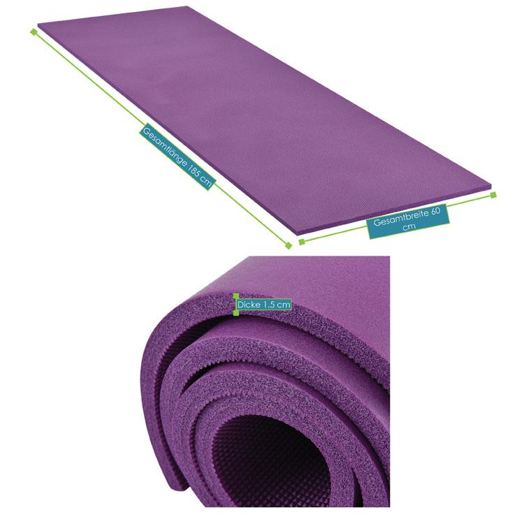 Abmessungsbild der Fitness-, Gymnastik-, und Yogamatte von ArtSport – 185 x 60 x 1,5 cm - violett