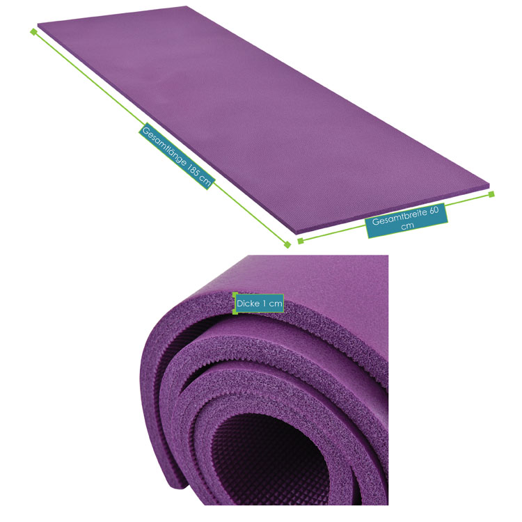 Abmessungsbild der Fitness-, Gymnastik-, und Yogamatte von ArtSport – 185 x 60 x 1 cm - violett