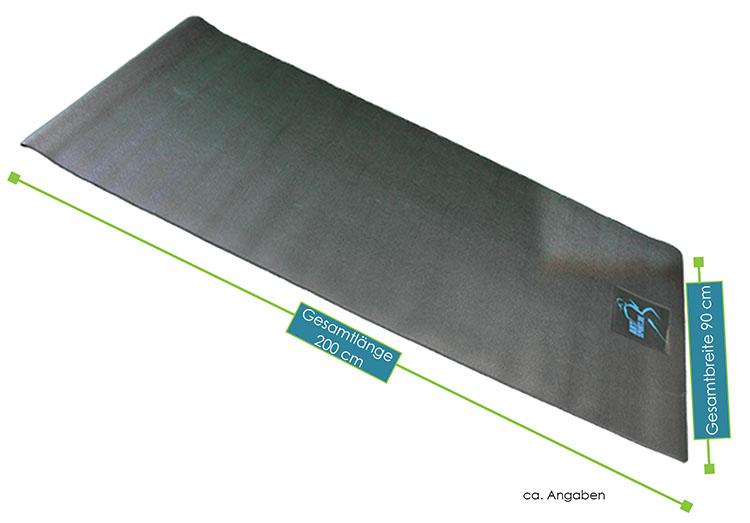 Abmessungen Bodenschutzmatte von ArtSport – Gesamtmaße: 200 × 90 × 0,6 cm