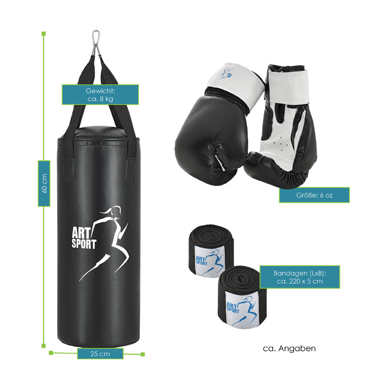 Abmessungen vom ArtSport Boxsack zusammen mit den Boxhandschuhen und Bandagen