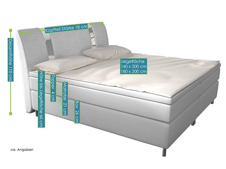 Boxspringbett Colorado 140 X 200 Cm Weiß Mit Federkern Matratze