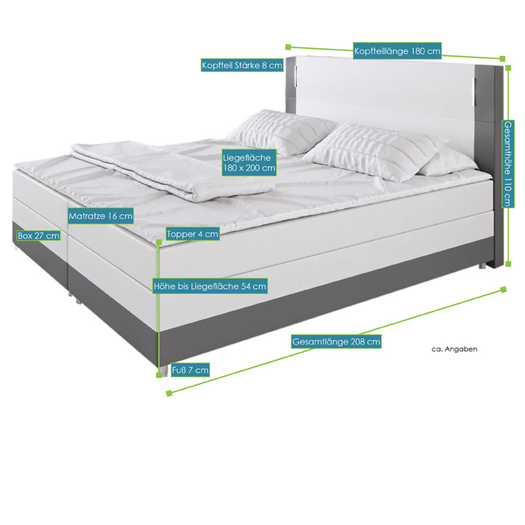 boxspringbett denver 180 x 200 cm kunstleder weiss dunkelgrau federkern matratze. Black Bedroom Furniture Sets. Home Design Ideas