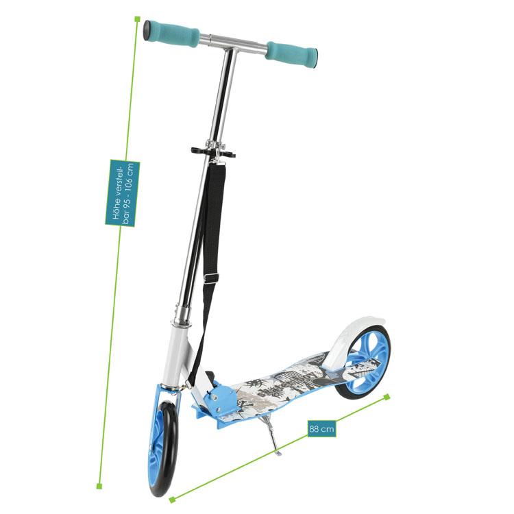 Abmessungen 3-fach höhenverstellbarer Cityroller (blau) zum Zusammenklappen – Gesamtabmessungen: 88 x 38 x 95-106 cm, Maße der Trittfläche: 52 x  16 cm, Durchmesser XXL-Rollen: 20,5 cm, max. Belastbarkeit: 100 Kilogramm, Gewicht: 3,8 Kilogramm